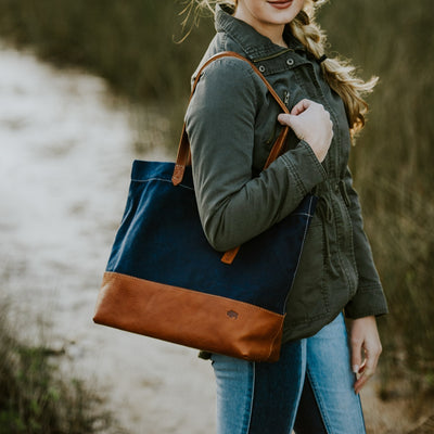 Madison Waxed Canvas Tote | Navy w/ Saddle Tan Leather hover