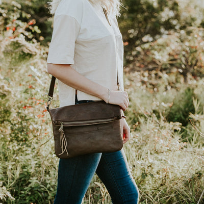 Madison Leather Crossbody Foldover Clutch | Dark Hazelnut hover
