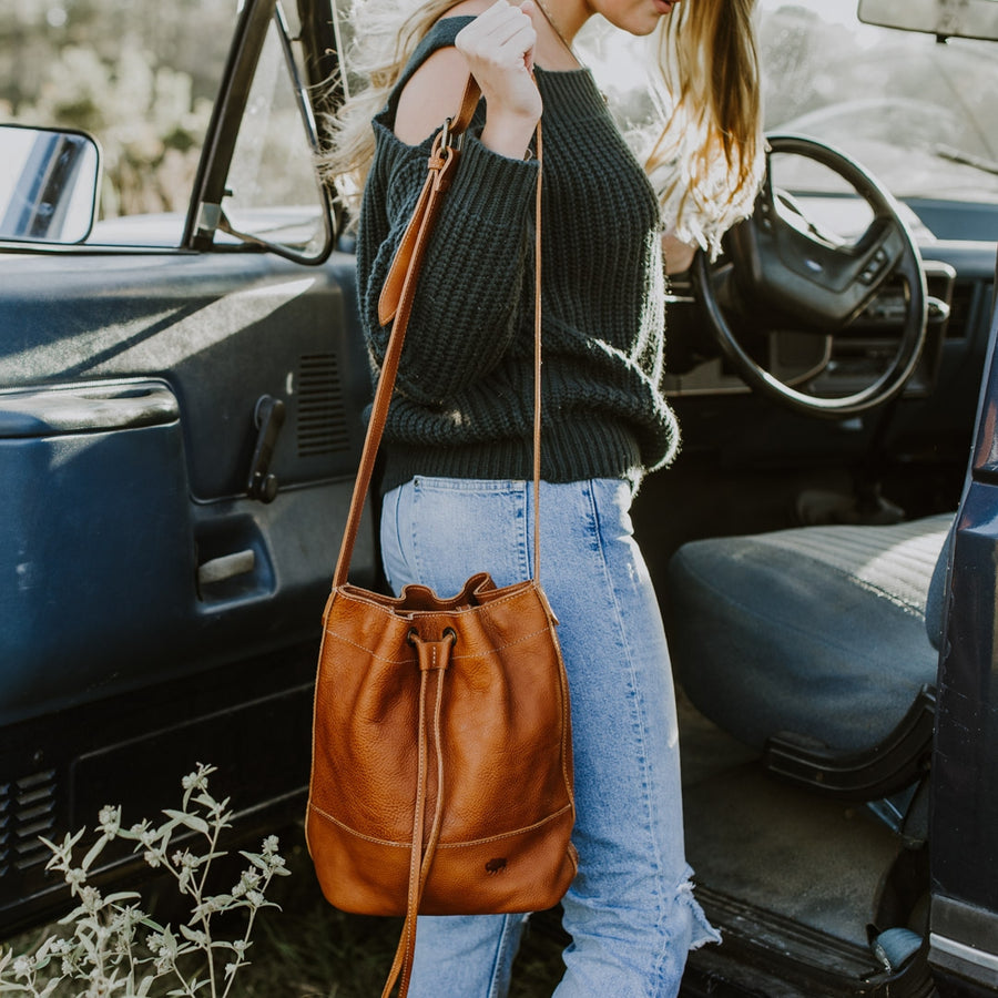 Madison Leather Brown Bucket Bag | Saddle Tan