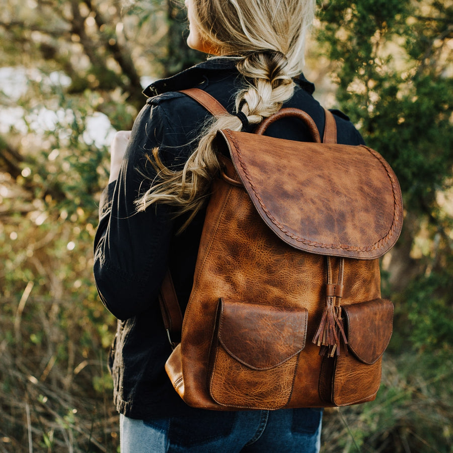 Camden Braided Leather Backpack | Hickory