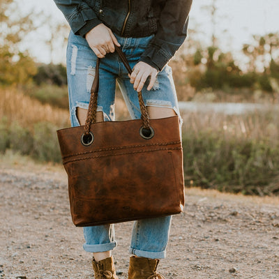 Camden Braided Leather Tote | Hickory hover