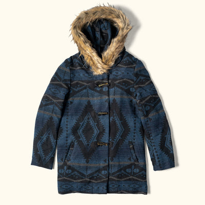 women's ganado print hooded parka