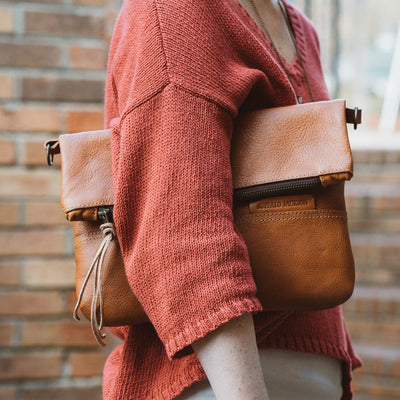 Madison Leather Crossbody Foldover Clutch | Saddle Tan
