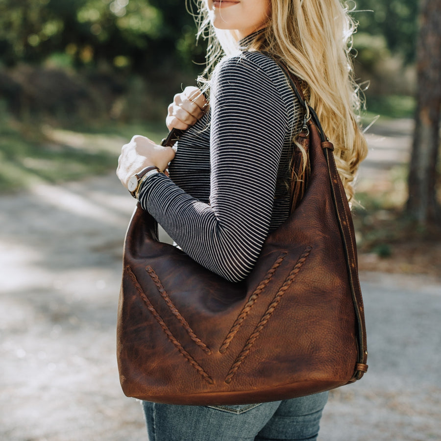 Camden Braided Leather Shoulder Bag | Mahogany