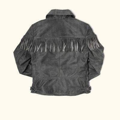 Women's Oakley Fringe Leather Jacket | Grey