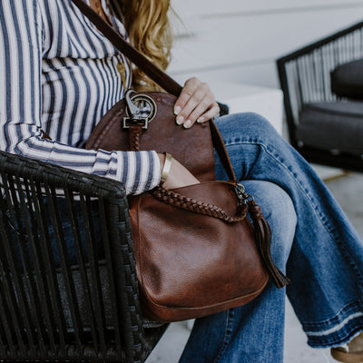 Camden Braided Leather Crossbody Bag | Mahogany