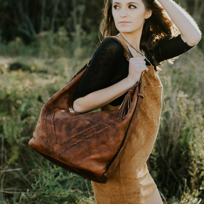 Camden Braided Leather Shoulder Bag | Hickory
