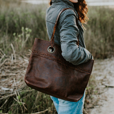 Camden Braided Leather Tote | Mahogany hover