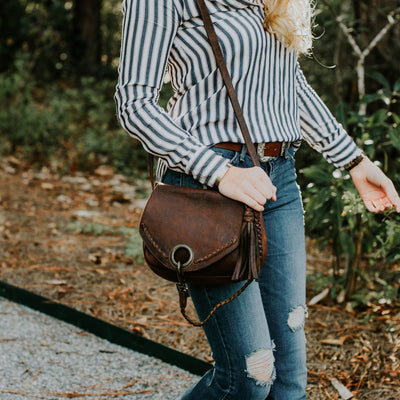 Camden Braided Leather Crossbody Bag | Mahogany hover