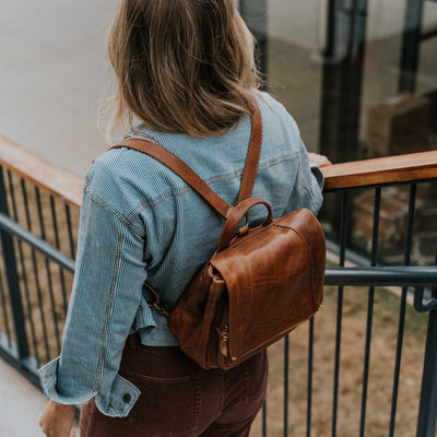 Walker Small Leather Backpack | Rustic Tan hover