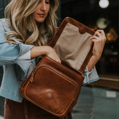 Walker Small Leather Backpack | Rustic Tan
