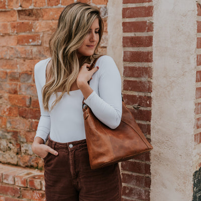 Walker Leather Shoulder Bag | Rustic Tan hover