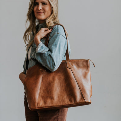Walker Leather Tote Bag | Rustic Tan hover