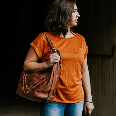 Camden Braided Leather Shoulder Bag | Hickory hover