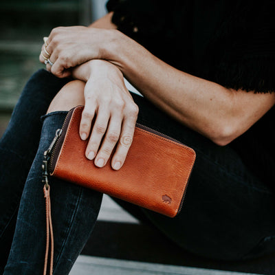 Madison Wristlet Wallet | Saddle Tan hover