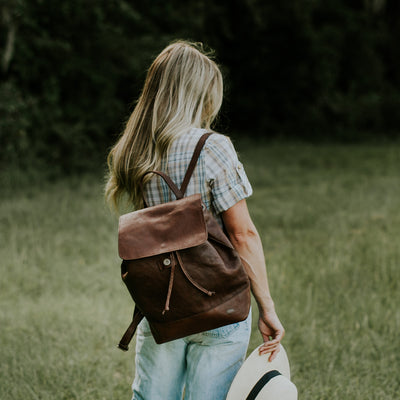 Madison Leather Backpack | Dark Hazelnut hover