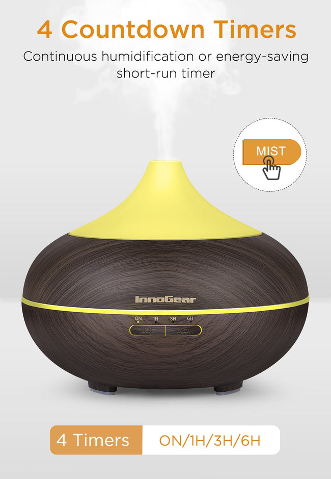 InnoGear 500ml Aromatherapy Essential Oil Diffuser Wood Grain Aroma Diffusers Cool Mist Humidmifier with Timer Adjustable Mist Night Light Waterless Auto Shut-Off (Dark)