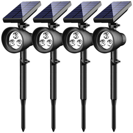 InnoGear Upgraded 6 LED Solar Landscape Spotlights 2-in-1 Wireless IP65 Waterproof Auto On/Off Outdoor Solar Landscaping Lights for Yard Garden Driveway Pathway Pool, Pack of 4 (White Light)
