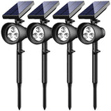InnoGear Solar Lights Upgraded 2-in-1 Waterproof 3 LED Solar Spotlight Adjustable Wall Light Landscape Light Security Lighting Outdoor Auto on/Off for Patio, Deck, Yard, Garden, Pack of 4