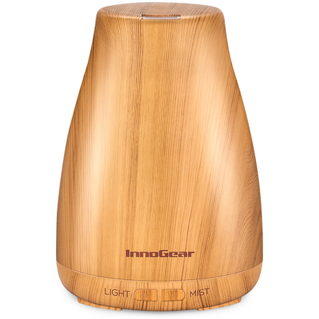 InnoGear 300ml Aromatherapy Essential Oil Diffuser Wood Grain Ultrasonic Cool Mist Humidifier Waterless Auto Shut-off for Home Office Bedroom Yoga Spa