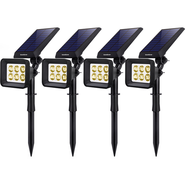 InnoGear Upgraded 6 LED Solar Landscape Spotlights 2-in-1 Wireless IP65 Waterproof Auto On/Off Outdoor Solar Landscaping Lights for Yard Garden Driveway Pathway Pool, Pack of 4 (Warm White)