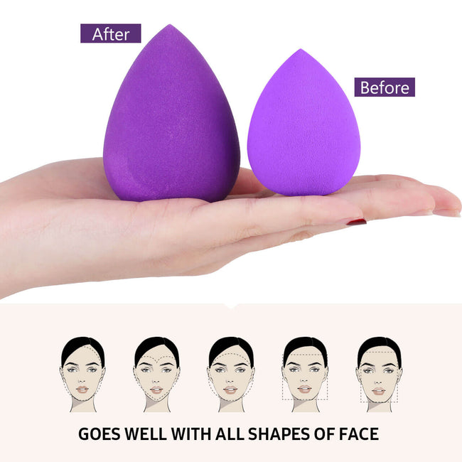 InnoGear Makeup Sponges with Holder, 6 Pcs Makeup Sponge Blender Foundation Powder Cosmetic Liquid BB Cream Applicator Puff Display Stand Dryer Rack