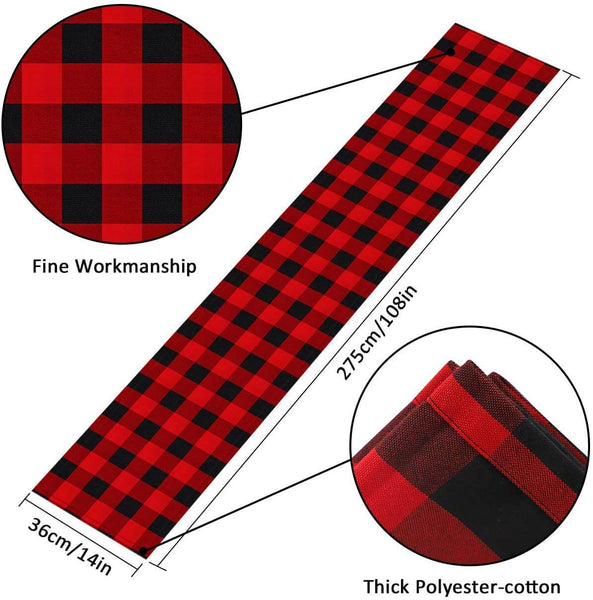 InnoGear 2 Pack 14 x 108 inch Buffalo Check Table Runner Polyester Cotton Red and Black Plaid for Indoor and Outdoor Parties, Family Dinner, Thanksgiving, Christmas & Gathering
