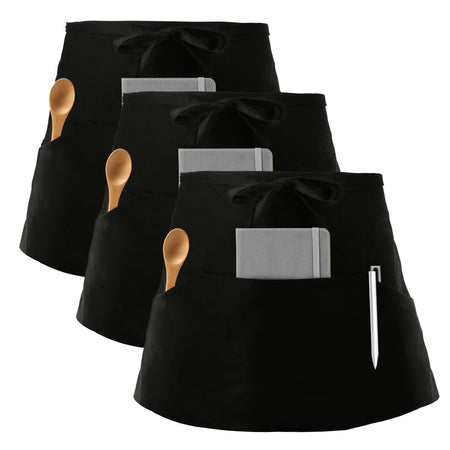 InnoGear 4 Packs Apron, Unisex Adjustable Apron with Pockets for Home Kitchen Cooking, Restaurant, Coffee house (Black, Polyester)