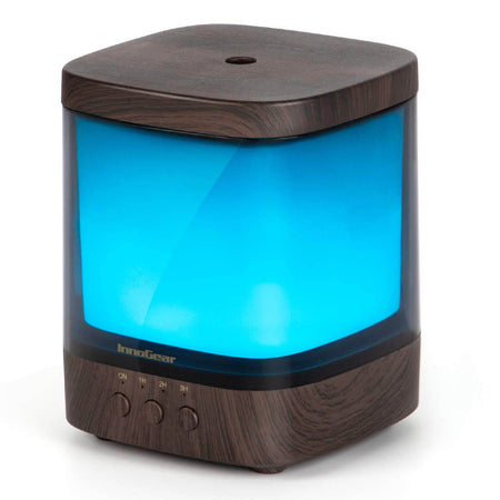 InnoGear Vase-Shaped Essential Oil Diffuser, Elegant Transparent Cover Cool Mist Humidifier Ultrasonic Aromatherapy Diffusers with Unique Breathing Lights Waterless Auto-off for Home Yoga Office