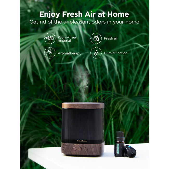 InnoGear 300ml Essential Oil Diffuser Aroma Diffuser Cool Mist Humidifier Air Freshener Ultrasonic Aromatherapy Diffusers with 4 Timer Settings Adjustable Mist Mode for Home Office Bedroom
