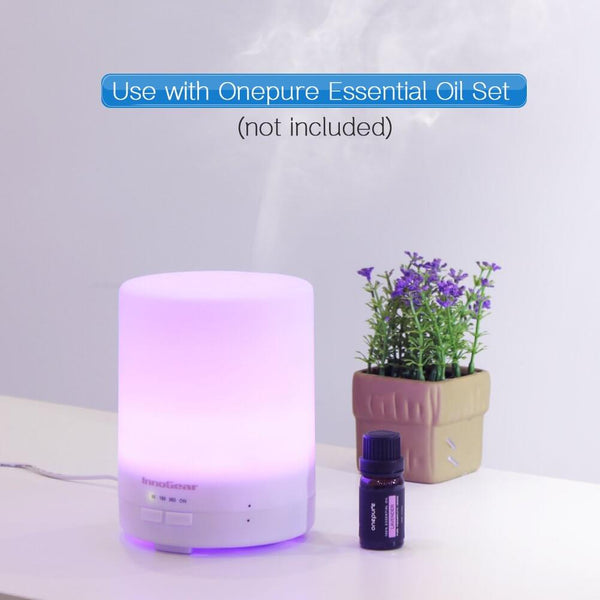 InnoGear Upgraded 300ml Essential Oil Diffuser Ultrasonic Aroma Aromatherapy Diffusers Cool Mist Humidifier with Timer Setting 4 Working Modes Waterless Auto Shut-off 7 Color LED Light