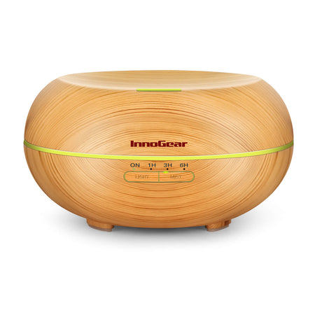 InnoGear 500ml Essential Oil Diffuser Wood Grain Aromatherapy Diffusers Cool Mist Humidifier with Timer Adjustable Mist Waterless Auto Off for Baby Home Office Yoga