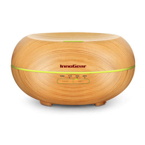 InnoGear Diffusers for Essential Oils, Wood Grain Essential Oil Diffuser Ultrasonice Aromatherapy Diffusers Aroma Cool Mist Humidifier with Timer Waterless Auto Off, 500ml, Yellow