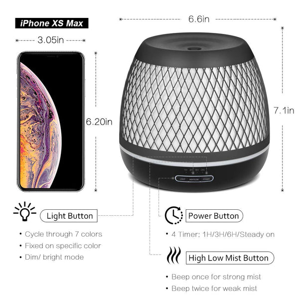 InnoGear 2019 Premium 500ml Aromatherapy Essential Oil Diffuser with Iron Cover Ultrasonic Diffuser Classic Stlye Cool Mist with 7 Colorful Night Light for Home Bedroom Baby Room Yoga Spa