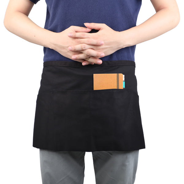 InnoGear 3 Pack Waist Apron, Black Waiter Waitress Aprons with 3 Pockets Bistro Restaurant Gardening Half Apron for Men and Women(Black, Cotton)