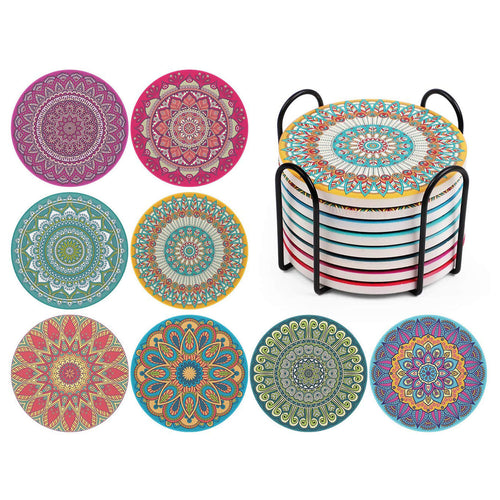 InnoGear 8 Pcs Coasters with Holder Drink Absorbent Coaster Stone Mats Heat-Resistant Gift Present for Friends Men Women Housewarming Birthday Party