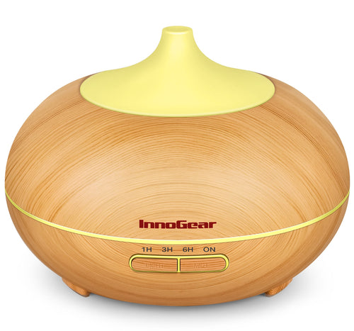 InnoGear 300ml Aromatherapy Essential Oil Diffuser Wood Grain Aroma Diffusers Cool Mist Humidmifier with Timer Adjustable Mist Night Light Waterless Auto Shut-off, Light