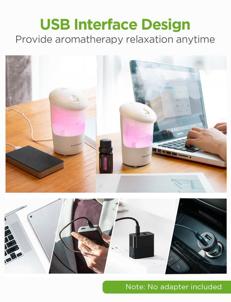 InnoGear Car Diffuser, USB Essential Oil Diffuser Ultrasonic Car Humidifier Aromatherapy Diffusers with Intermittent/Continuous Mist for Office Travel Home Vehicle