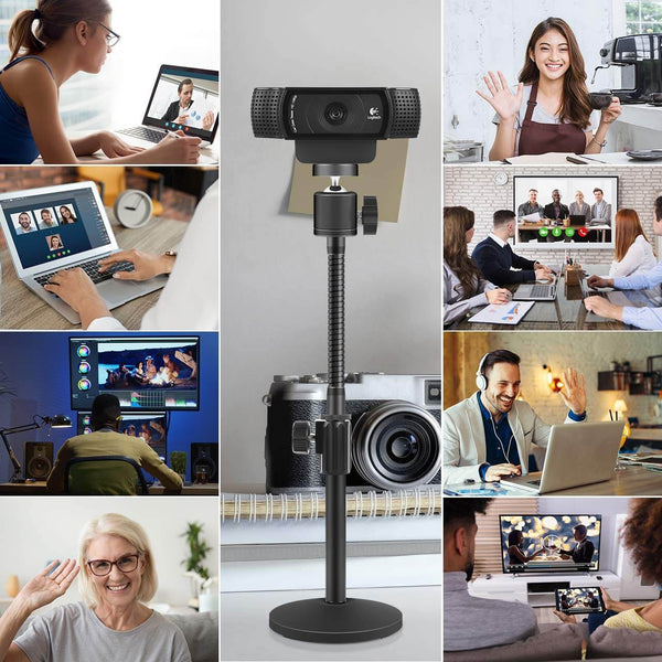 "InnoGear Upgraded Webcam Desktop Stand Adjustable Flexible Holder Stand with Tripod Head, Gooseneck and Base for Logitech Webcam C922 C930e C920S C920 C615 and BRIO and Other Devices with 1/4"" Thread"