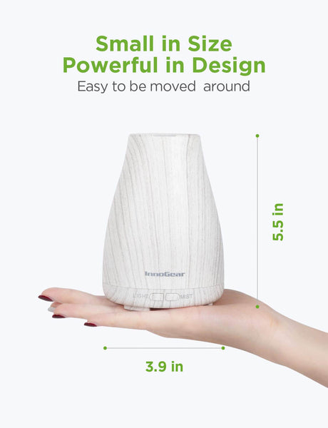 InnoGear Upgraded Version Aromatherapy Essential Oil Diffuser Ultrasonic Diffusers Cool Mist Humidifier with 7 Colors LED Lights and Waterless Auto Shut-off for Home Office Bedroom Room (Grey)