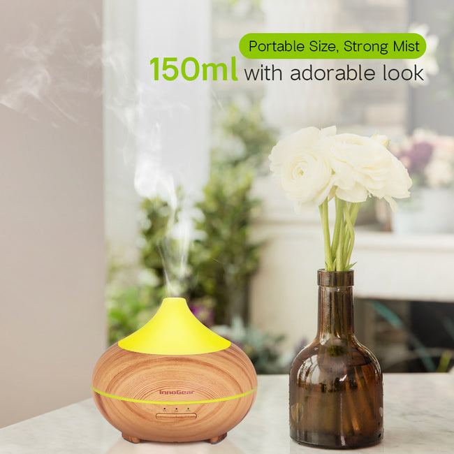 InnoGear 150ml Aromatherapy Essential Oil Diffuser Wood Grain Aroma Diffusers Cool Mist Humidifier with Timer Adjustable Mist Waterless Auto Shut-off