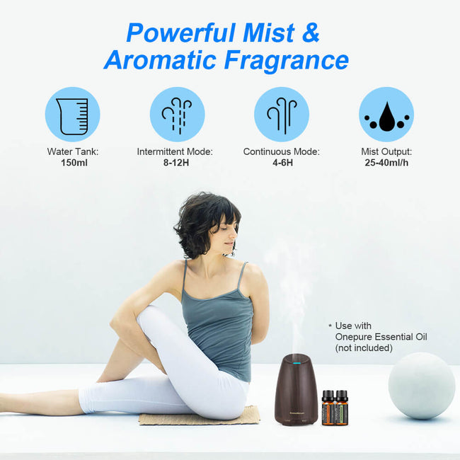 InnoGear 150ml Aromatherapy Essential Oil Diffuser Ultrasonic Portable Cool Mist Aroma Room Freshener with Waterless Auto Shut-off Function, Dark