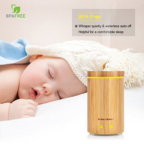 InnoGear 150ml Real Bamboo Essential Oil Diffuser with 6 Bottles 100% Pure Aromatherapy Essential Oils Ultrasonic Aroma Diffuser Set Cool Mist Humidifier Gift Set for Bedroom Home Office