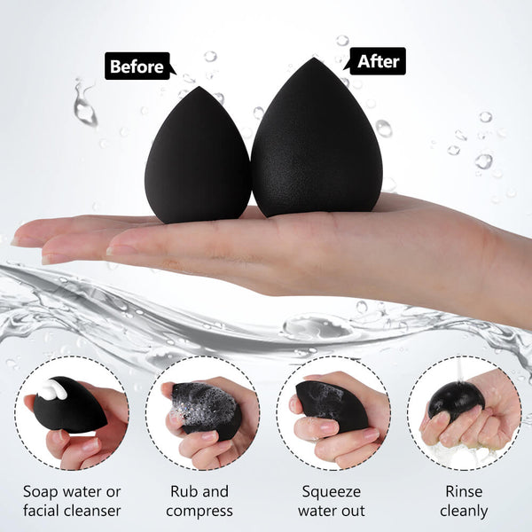 InnoGear Makeup Sponge Blender Set, Black Latex-Free Beauty Sponge Makeup Foundation, Flawless for Powder, Cream or Liquid Application, Soft Multi-Purpose Cosmetic Applicator Puff (10 Pcs)