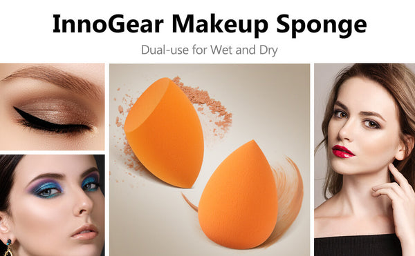InnoGear Makeup Sponge Blender Set, Orange Latex-Free Beauty Sponge Makeup Foundation, Flawless for Powder, Cream or Liquid Application, Soft Multi-Purpose Cosmetic Applicator Puff (10 Pcs)