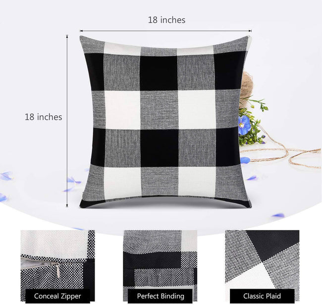 InnoGear Classic Buffalo Check Throw Pillow Covers Cotton Linen 18 x 18 inch for Home Decor Design Cushion Case Sofa Bedroom Car, Pack of 2
