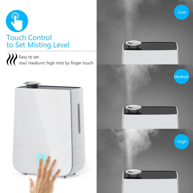 InnoGear Cool Mist Humidifier, 4L Touch Control Ultrasonic Humidifiers 360° Rotatable Nozzle and 3 Mist Level Low/ Medium/ High 13-40 Hrs Waterless Auto Shut-off Whisper Quiet for Home Baby Nursery