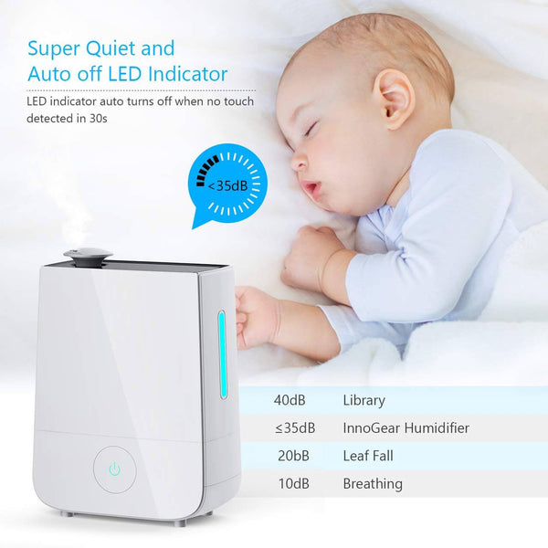 InnoGear Cool Mist Humidifier, 4L Touch Control Ultrasonic Humidifiers 360° Rotatable Nozzle and 3 Mist Level Low/Medium/High 13-40 Hrs Waterless Auto Shut-Off Whisper Quiet for Home Baby Nursery