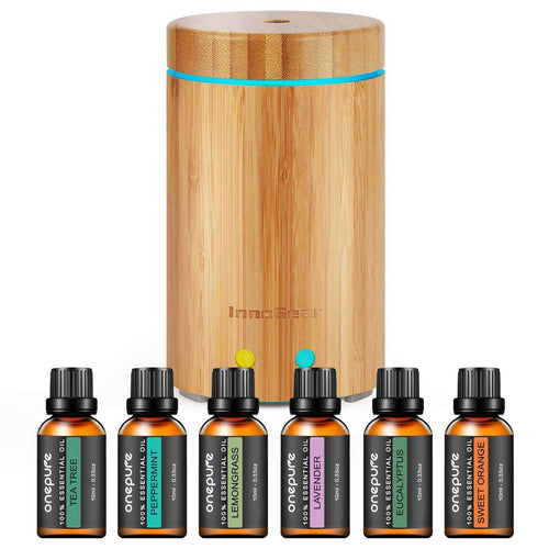 InnoGear 160ml Real Bamboo Essential Oil Diffuser with 6 Bottles 100% Pure Aromatherapy Essential Oils Ultrasonic Aroma Diffuser Set Cool Mist Humidifier Gift Set for Bedroom Home Office