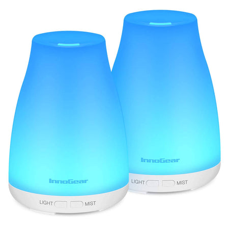 InnoGear USB Car Essential Oil Diffuser Ultrasonic Aromatherapy Diffuser with 10ml Peppermint Oil Gift Set Aroma Humidifier for Home Office Travel Vehicle